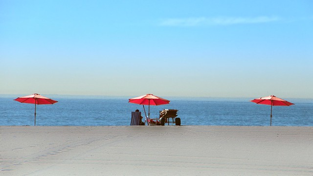 Parasols on the beach, Santa Monica