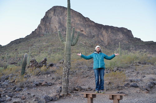Picacho Peak Linda waiting for sunrise