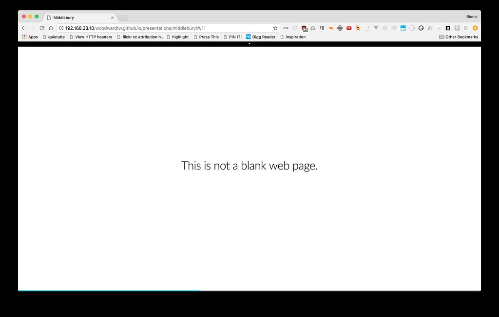 Screen Shot of a white screen with the text - this is not a blank web page.