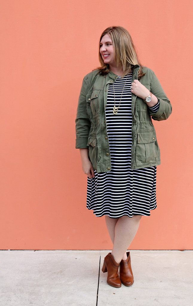 black and white stripe swing dress, olive cargo jacket, cognac booties 5