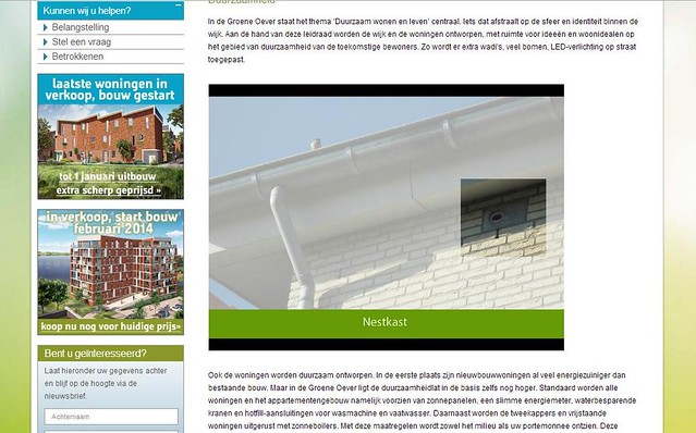 Neststeen voor Gierzwaluwen op website Groene Oever, Heijmans Vastgoed.