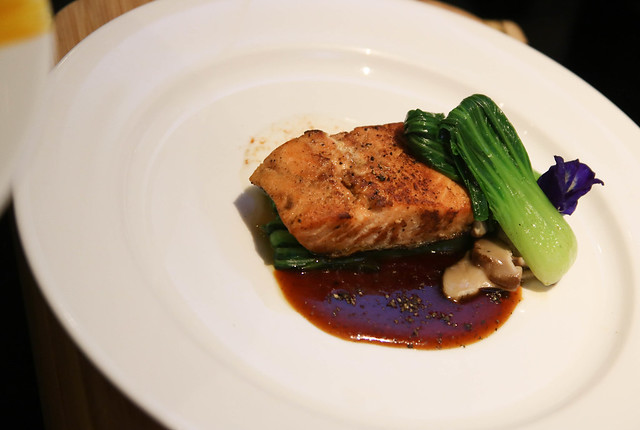 Teriyaki Glazed Salmon with Malabar Black Pepper, Bok Choy and Shiitake Mushrooms