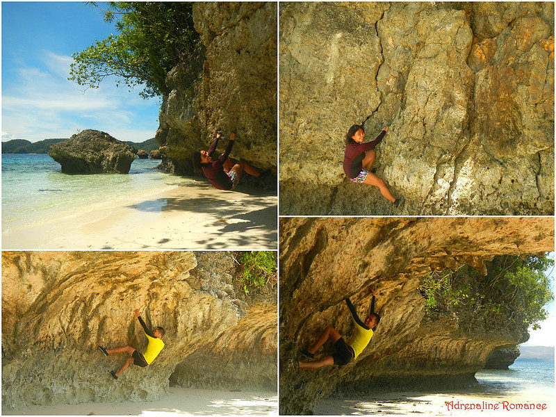 Bouldering in a secluded beach