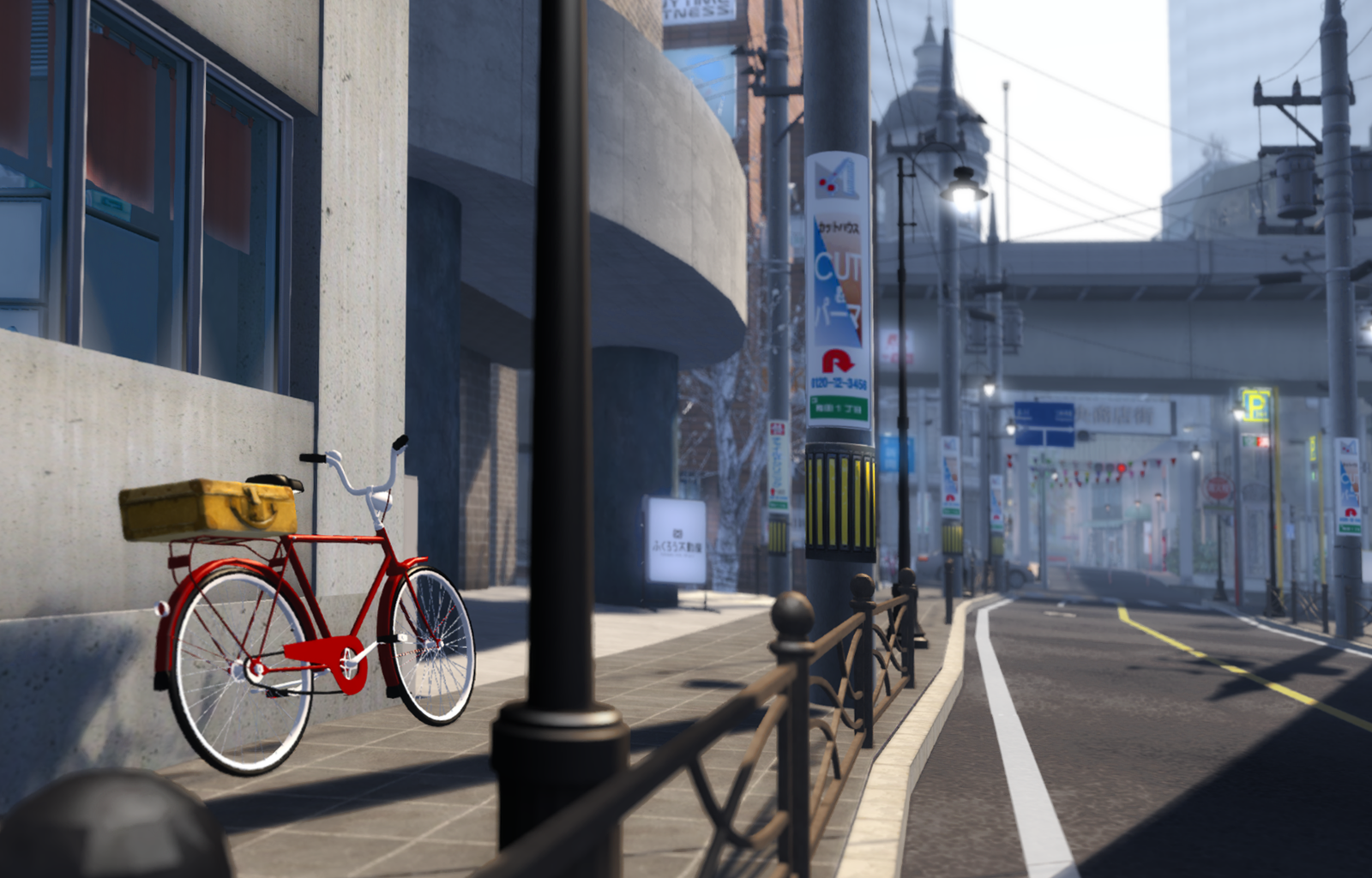 A bike left on a sidewalk in Mitsumi-Town