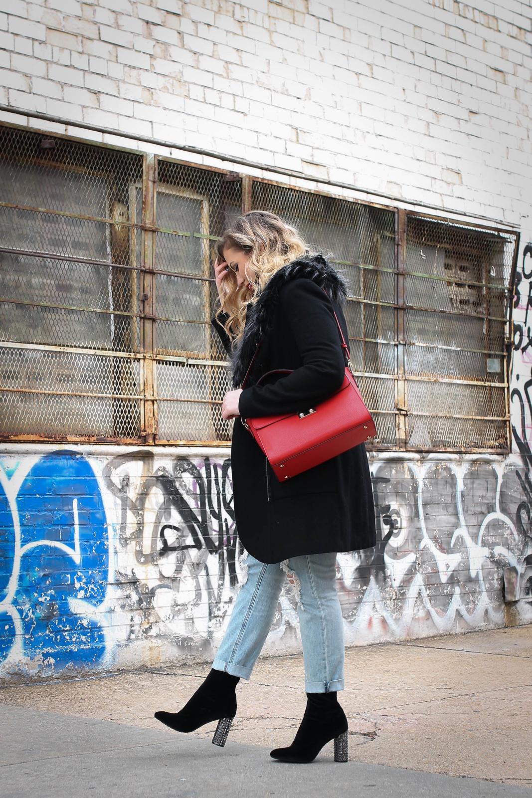 Nina Iyonaa Booties Velvet Sock Boots Sparkling Embellished Block Heels