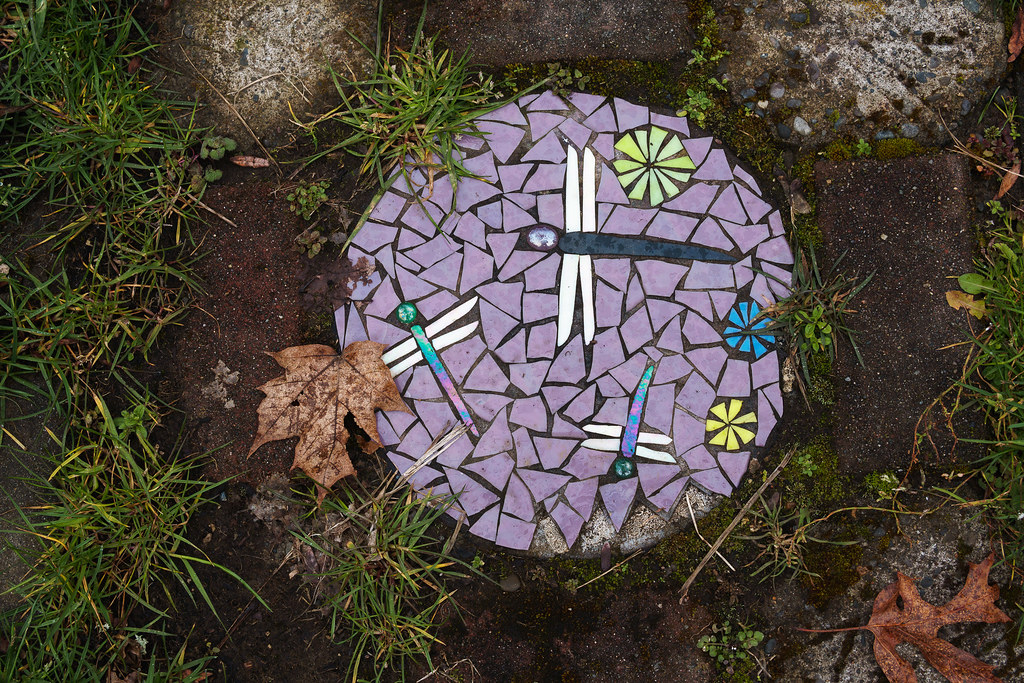 Dragonfly art on a stepping stone in the Irvington neighborhood of Portland, Oregon