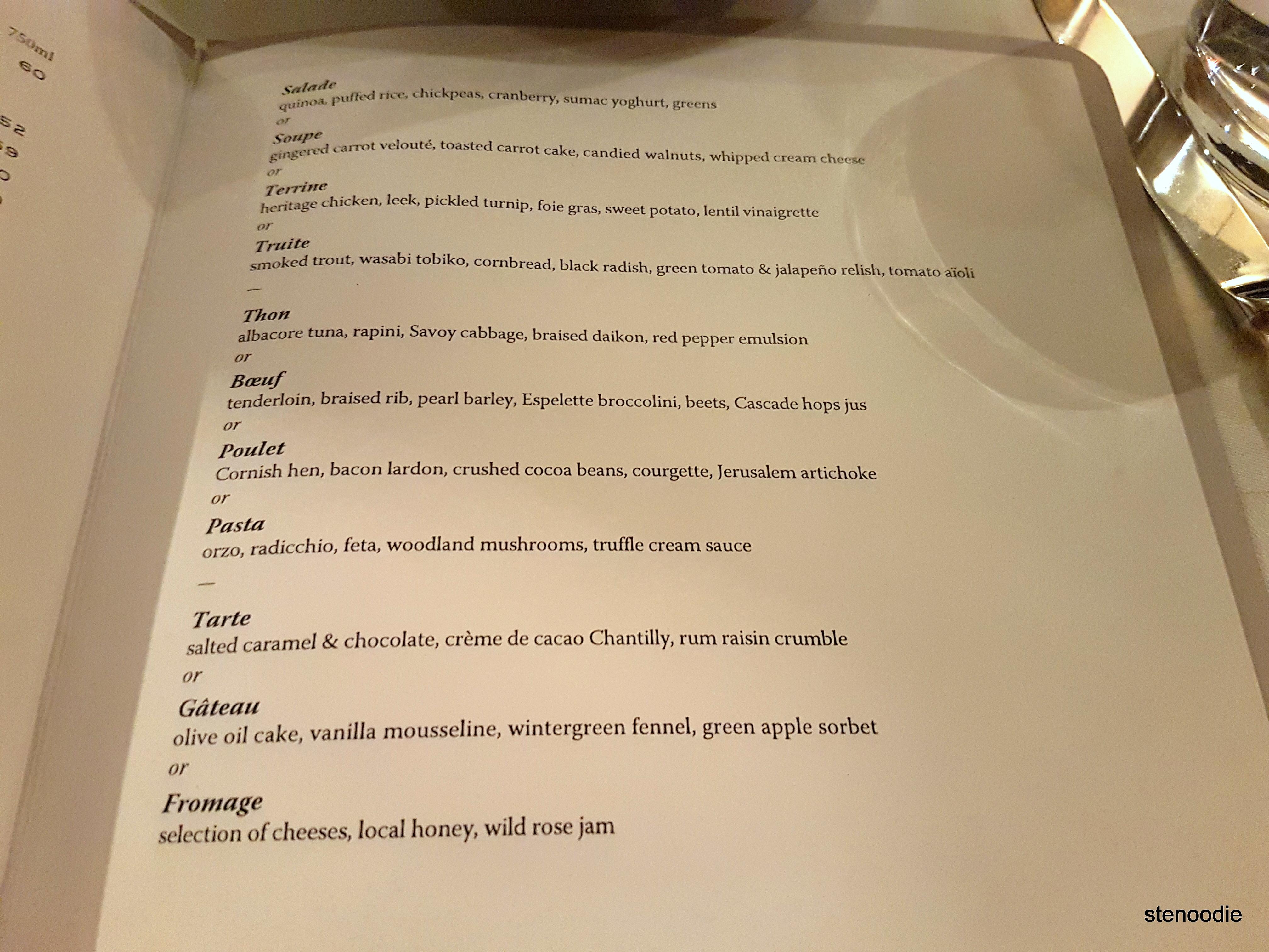 Auberge du Pommier Winterlicious menu