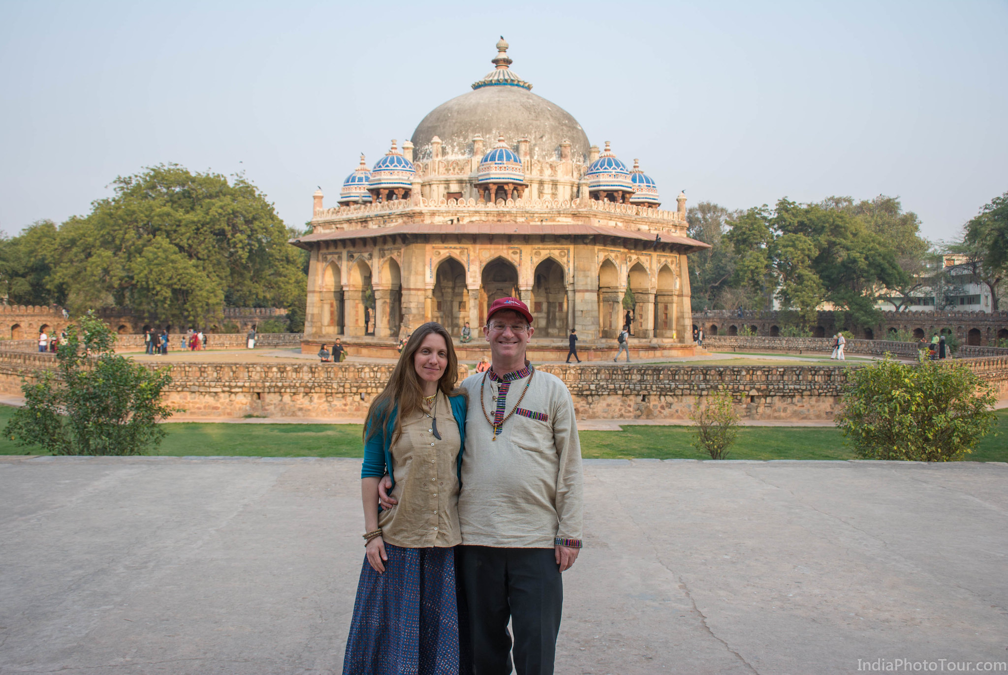 Posing for a picture at Isa Khan's tomb in Humayun's Tomb complex