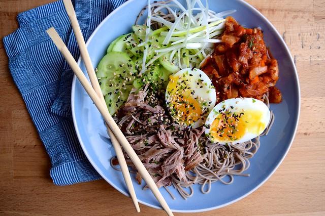Cold Korean Noodle Bowl with Soft Eggs & Crispy Duck #korean #noodles #bowlfood #duck #eggs #soba