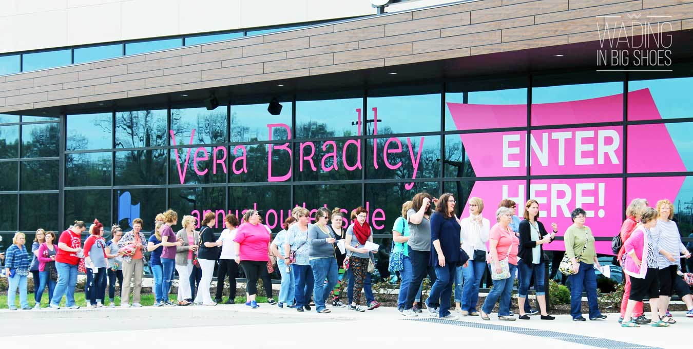 Girls' Getaway Weekend: Inside Vera Bradley's Massive Annual Outlet Sale (via Wading in Big Shoes) | The Vera Bradley annual outlet sale in Fort Wayne, Indiana features 100,000 square feet of authentic merchandise for 40-60 percent off. Thousands of people visit every year--find dates and learn how to register here!