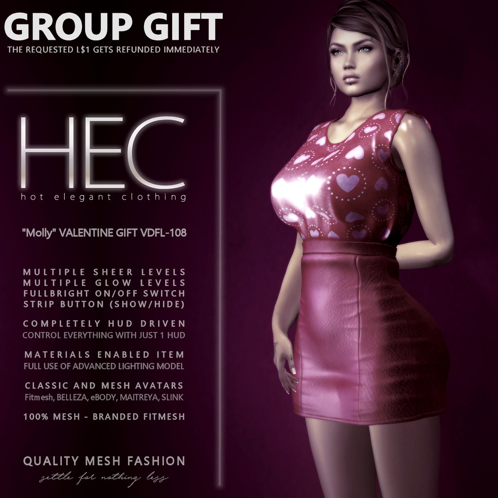 """HEC (WOMENSTUFF GROUP GIFT) • """"Molly"""" VALENTINE GIFT OUTFIT VDFL-108 - TeleportHub.com Live!"""