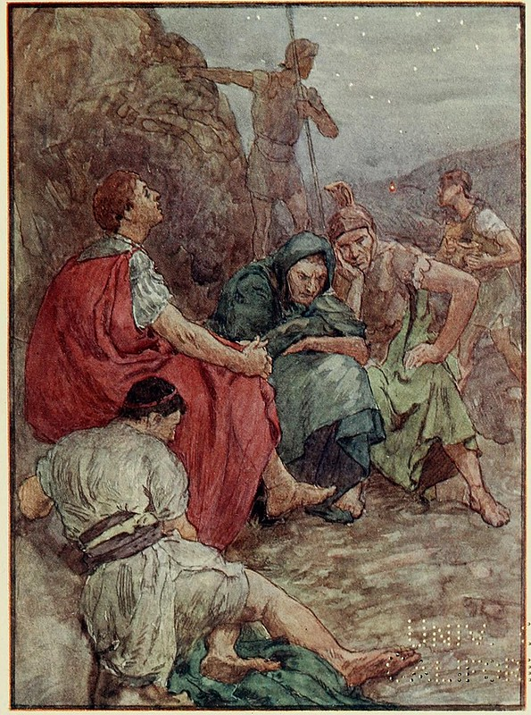 Marcus Junius Brutus and his companions after the battle of Philippi, by W H; Plutarch