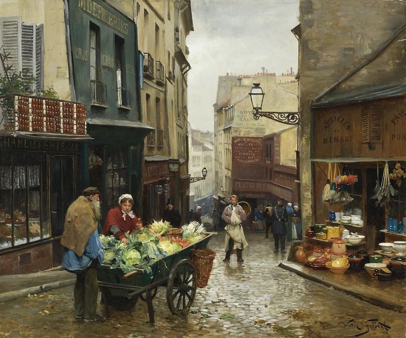 Victor Gabriel Gilbert - Market on the Rue Mouffetard, Paris