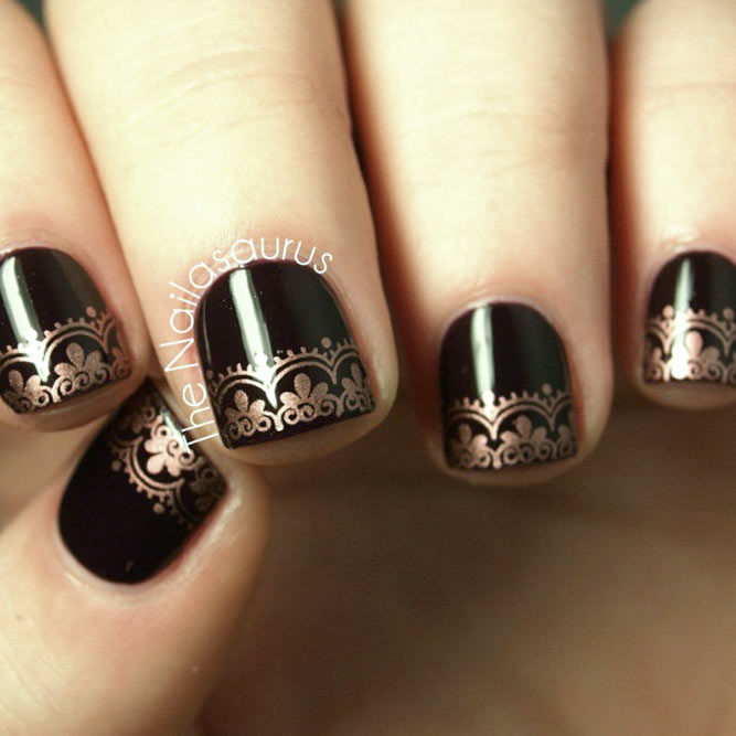 Last Autumn Nail Art Of The Year: Best 34+ Ideas For Black Nails Art Design