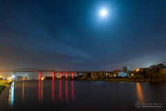 Red viaduct and blue moon