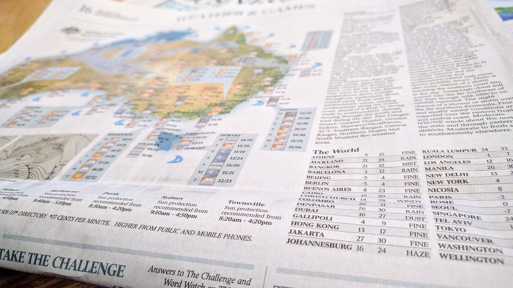 在澳洲报纸上可看到加里波利天气预报