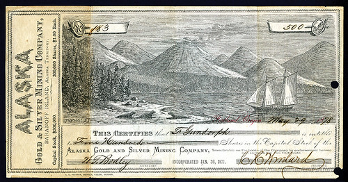 Lot 793 Alaska Gold & Silver Mining Co 1878 Stock Certificate