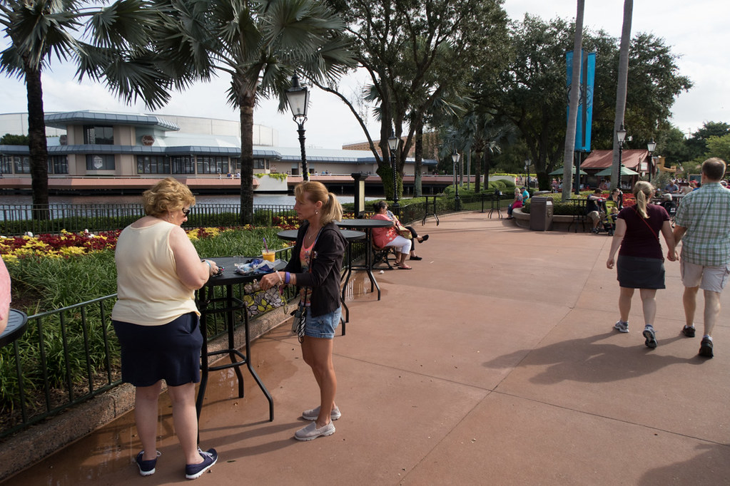 Standing tables at EPCOT Food and Wine Festival