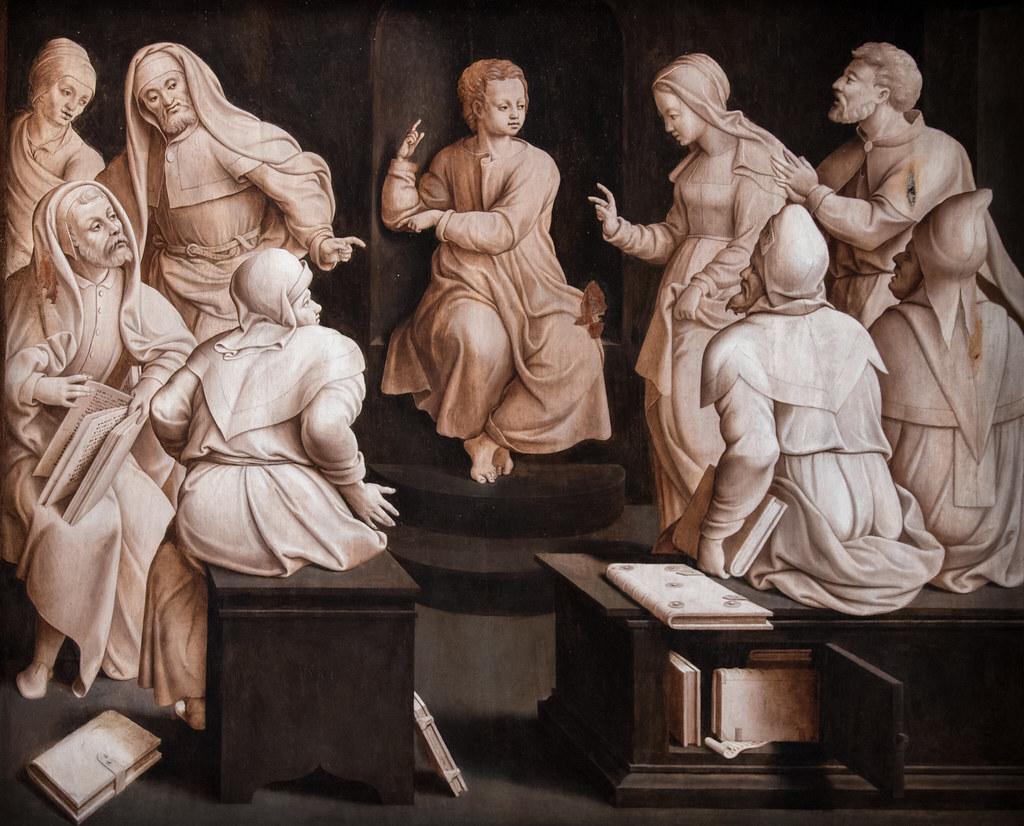 """Maître de Dinteville (Bartholomeus Pons ?) """"Jésus parmi les docteurs"""" (retable en chêne, 1541) exposition """"François Ier et l'art des Pays-Bas"""" musée du Louvre (Paris, France)"""
