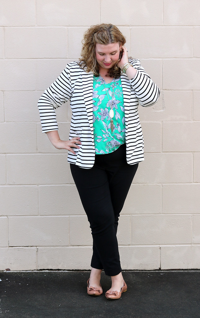 black and white stripe blazer, green floral shell, black pencil pants, bow flats 6