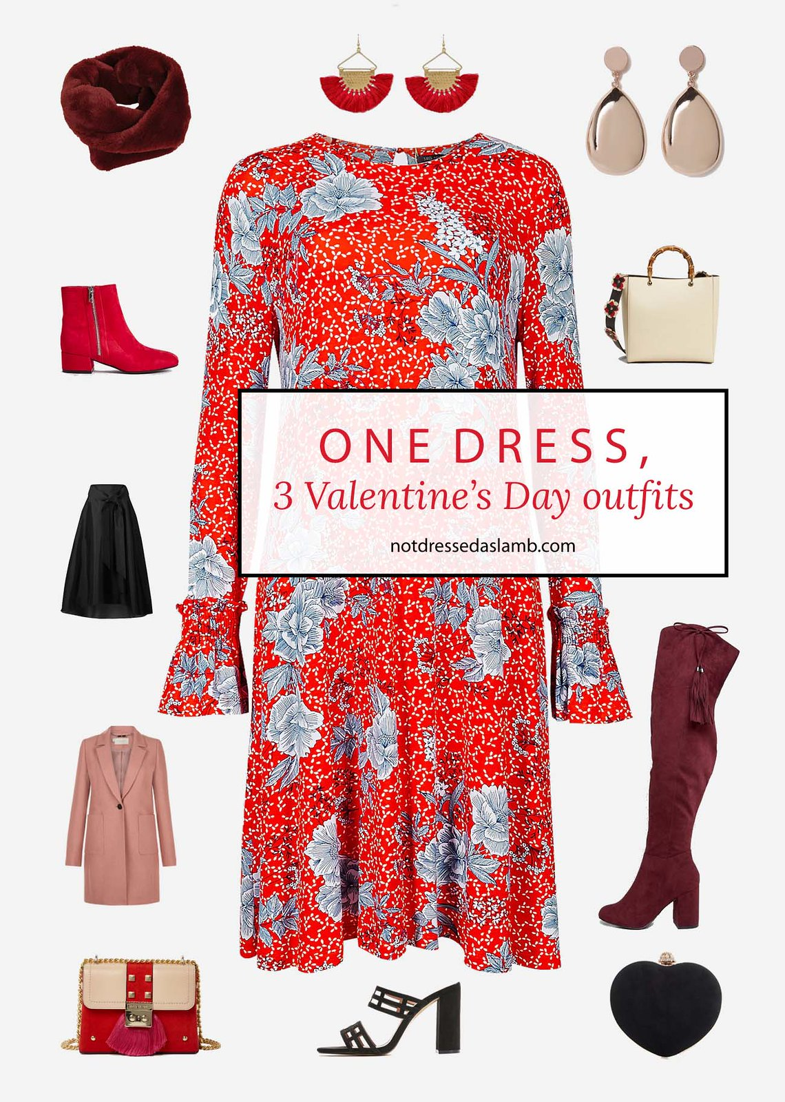 3 Ways to Style One Red Floral Dress for Valentine's Day