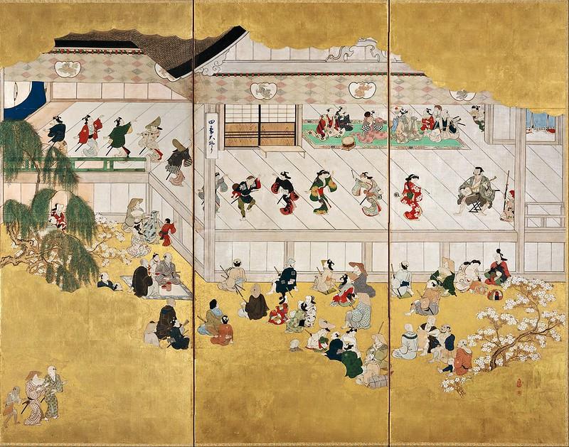 Hishikawa Moronobu - Scenes from the Nakamura Kabuki Theater