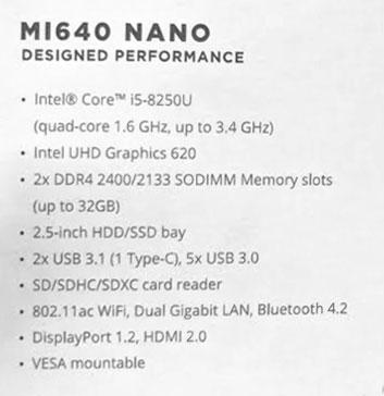 ZBox MI640 et ZBox MI660 Nano