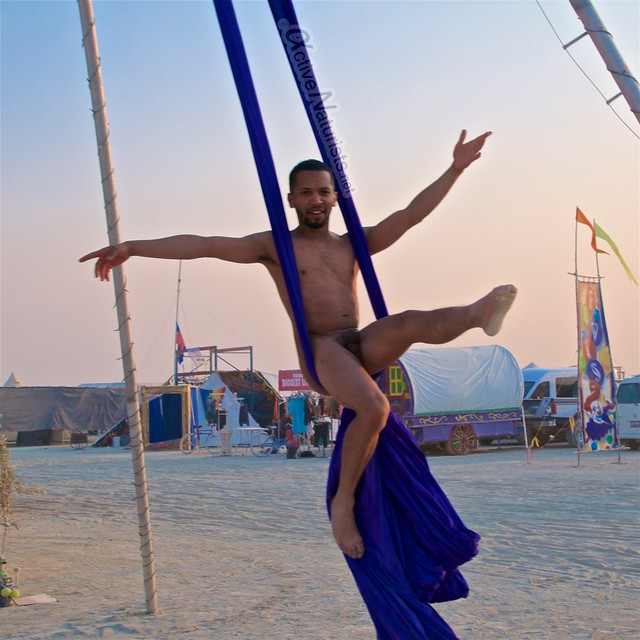 naturist aerial camp Gymnasium 0003 Burning Man, Black Rock City, NV, USA