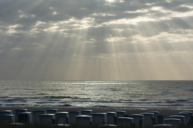 Sunbeams and beach huts