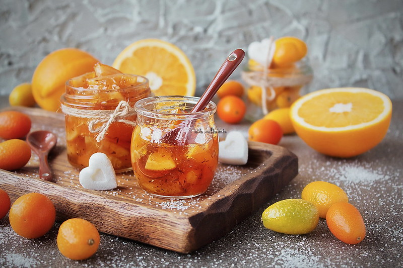 ...homemade marmalade from oranges in a glass jar