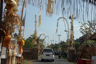 festive decorated streets in Bali