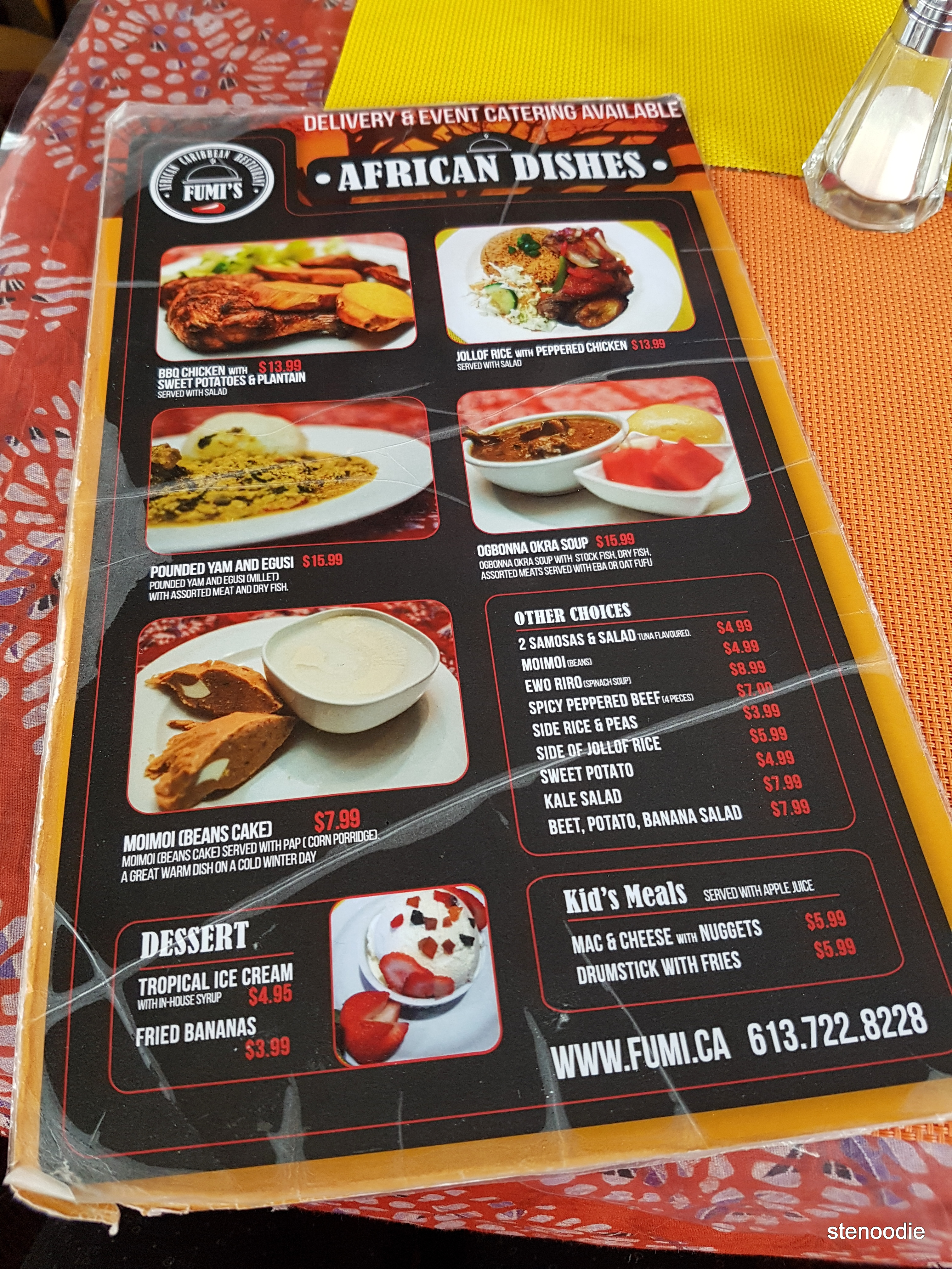 Fumi's African Caribbean Restaurant and Groceries menu and prices