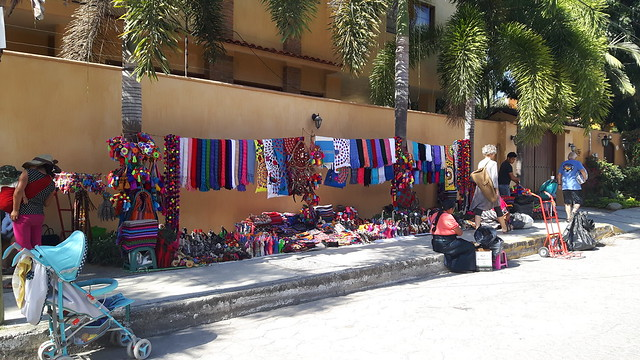 Colourful Mexican crafts for sale along a street in Bucerias