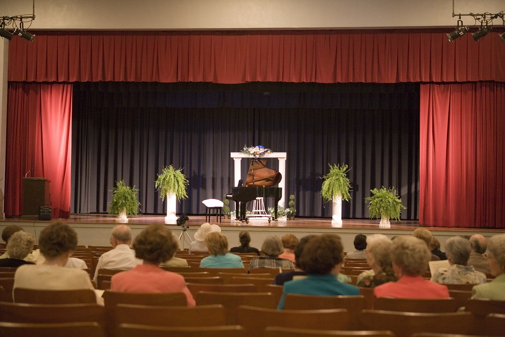 Photo of small audience awaiting start of piano recital in Marion, South Carolina