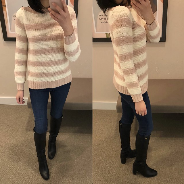 LOFT Striped Boatneck Sweater, size XSP