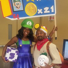 #28daysofblackcosplay it was a party at #blerdcon last year. @m.i.a_princess and I sporting Luigi and Captain Toad Cosplay. . . . #blacknerds #blerd #nintendo #marioparty #captaintoad #crochet #thatpoetryhost