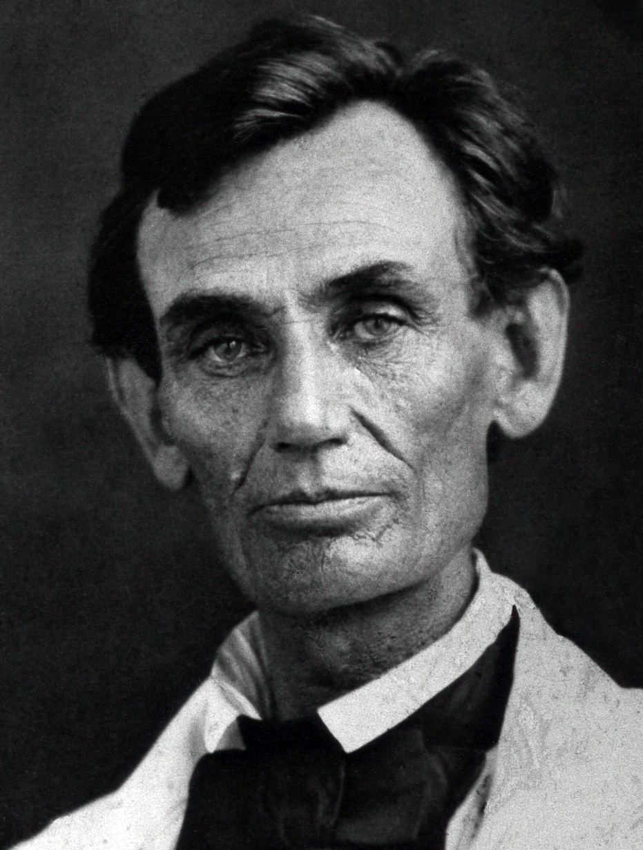 Ambrotype of Abraham Lincoln, photographed by Abraham Byers of Beardstown, Illinois on May 7, 1858.