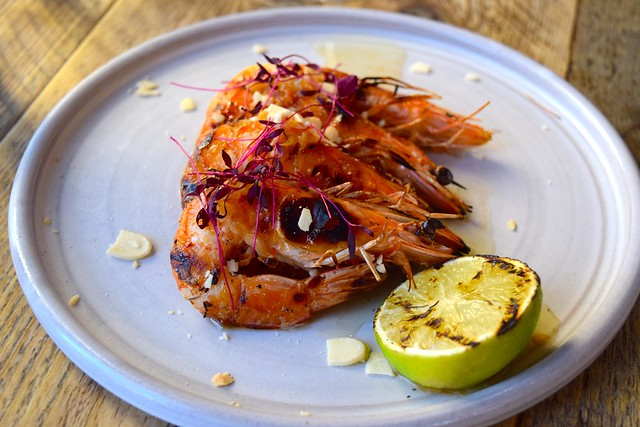 Grilled Prawns with Toasted Almonds and Yuzu Dressing at Chicama, Chelsea