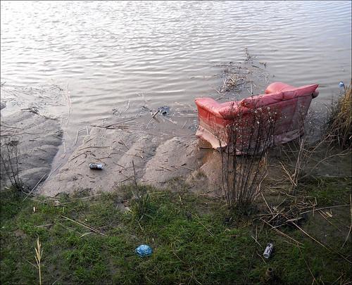 river mud riverhull dumped sofa settee composition colours sad riverview