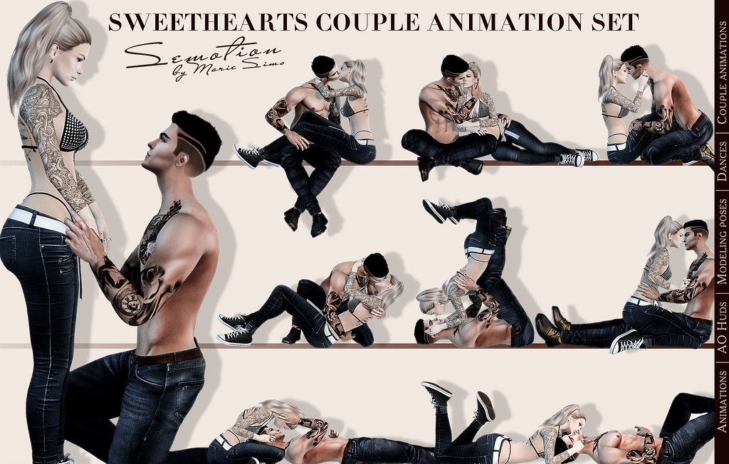 SEmotion Sweethearts Couple Set - 10 smooth sync animations - TeleportHub.com Live!