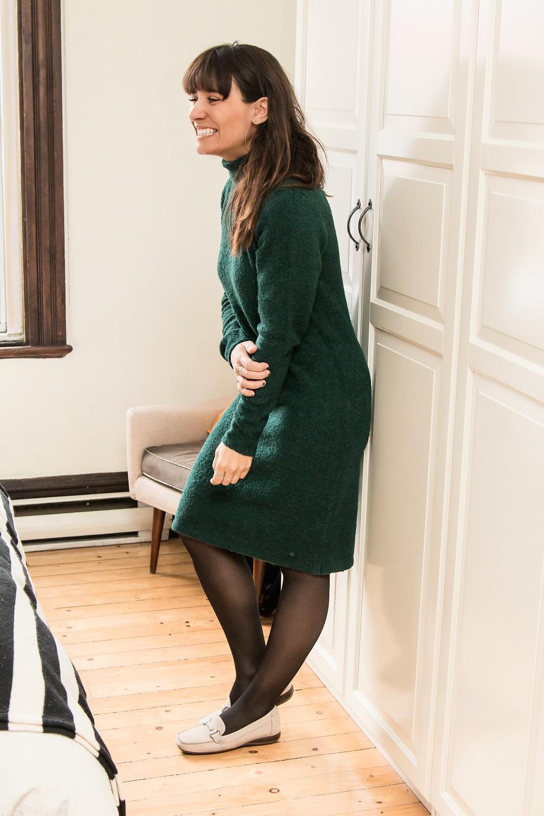 robe verte en tricot