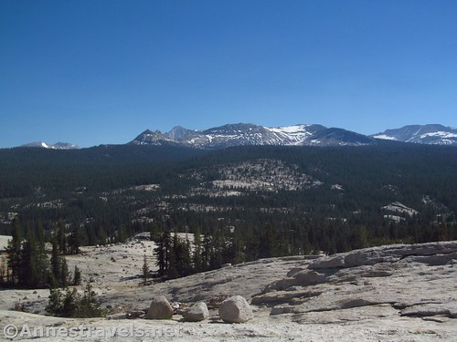 Closer up of Mt. Connes and White Mountain from Pothole Dome in Yosemite National Park, California