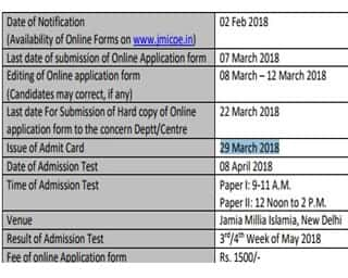 JMI Dates for MPhil and PhD