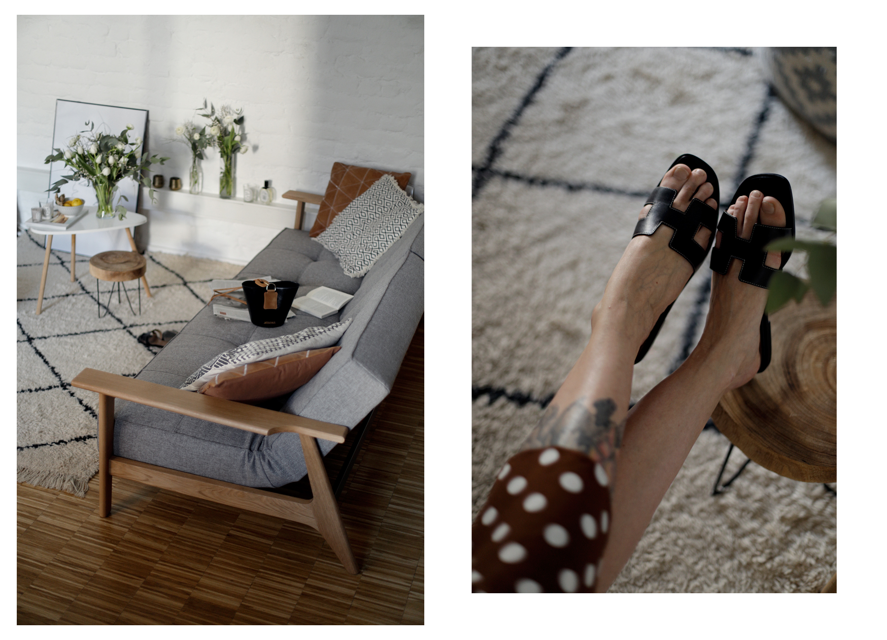 home24 couch impression schlafsofa sleeping couch relax danish design mid-century wooden beni ourain morrocan carpet styleblogger fashionbloger interior lifestyle blog ricarda schernus modeblogger hermes oran homestory catsanddogsblog max bechmann 4
