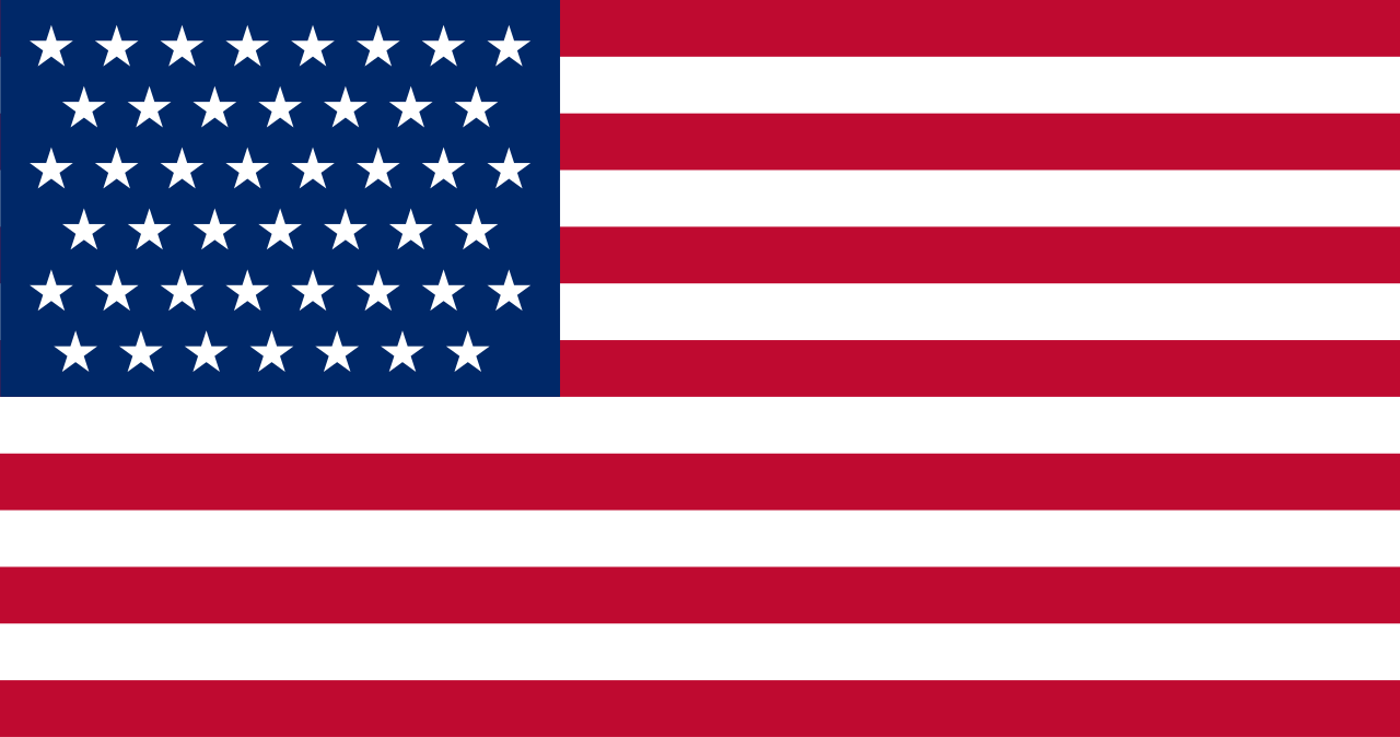 United States flag with 45 stars. In use July 4, 1896–July 3, 1908.
