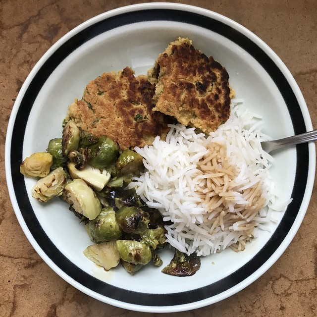 Falafels with Brussels Sprouts and Basmati Rice