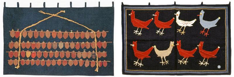 左)《干柿》(1955、豊田市美術館蔵) 右)《メキシコの鳥》(1962年、豊田市美術館蔵)
