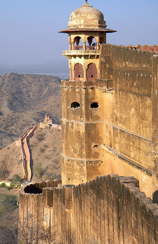 Tower at the Amber Fort and Palace near Jaipur in India