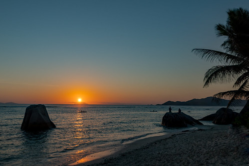 Sunset on  La Digue island, Seychelles | by dronepicr
