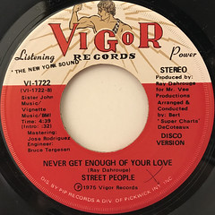 STREET PEOPLE:NEVER GET ENOUGH OF YOUR LOVE(LABEL SIDE-B)